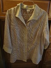 3/4 Sleeve Blouse Taupe Beige Burned Out Semi Sheer 20 22 1X 2X NEW w/o TAGS!