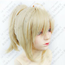 298 Fate Stay Night Saber Cosplay Wig light Gold/blond Color Clip Ponytail