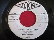 WYNN STEWART - ABOVE & BEYOND / OPEN UP MY HEART - JACKPOT PROMO - ROCKABILLY 45