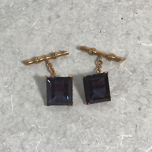 Mens 14k Gold Amethyst Square Scrolled Openwork Cufflinks 11.8 Grams Total