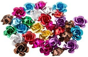 10 Aluminum Rose Beads Assorted Colors 17mm Metal Beads Wholesale Large Size