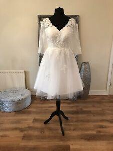 Bridal Gown/Wedding dress,Short Tea Length, long sleeve,Ivory,Size 22, Brand New