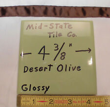 "6 pcs. *Olive Green Avocado* Glossy Ceramic Tiles by Mid-State Co...4-3/8""   NOS"