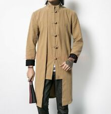 Spring Vogue Mens Trench Coat Chinese Style Button Linen Tang Suit Casual Jacket