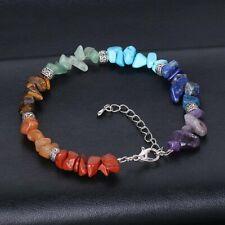 7 Chakra Healing Balance Crystal gravel Bracelet Lava Yoga Reiki Prayer Stone