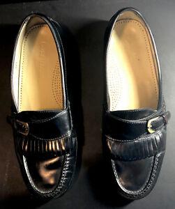 Cole Haan Black Leather Pinch Buckle Kiltie Loafers Dress Shoes Sz 9.5 D