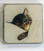 4 Vintage Coasters Chessie The Railroad Kitten Cat C & O Railway Chesapeake Ohio