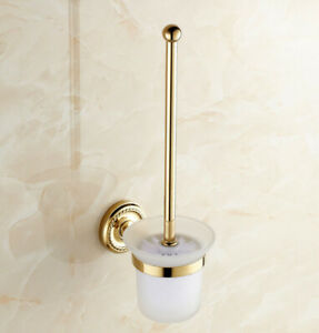 Gold Color Brass Toilet Brush Set Holder Brush + Glass Cup Wall Mount Kba611