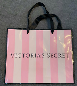 Victoria's Secret Pink & Black gift bag with ribbon handles