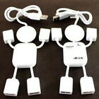 White 4Port Hub High-Speed USB 2.0 Humanoid Splitter Cable Adapter for Laptop PC