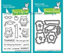 Lawn Fawn So Owlsome Clear Stamp Set and Lawn Cuts Dies Owl Apple Glasses Thanks