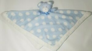 Blankets & Beyond Plush Teddy Bear Lovey Security Blanket Blue White Polka Dots