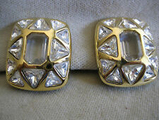 Swarovski Goldtone Triangle Crystal Clip Earrings - Signed - Neiman Marcus