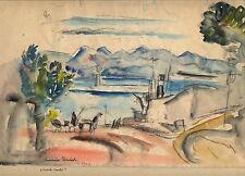 """Hermine DAVID:très belle aquarelle """"Monte Carlo"""", 1923, signée datée/PASCIN/"""