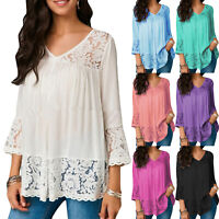 Womens 3/4 Sleeve Boho Lace V Neck Blouse Loose Casual T Shirt Tee Tunic Tops US