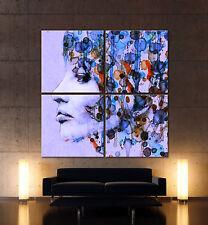LEAN WOMAN BLUES Abstrakt Leinwand Bild Blau Schwarz Kunstdruck Wandbilde Deko
