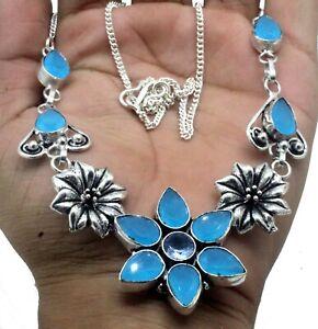 "925 Sterling Silver Chalcedony & Topaz Gemstone Jewelry Necklaces S-17-18"""