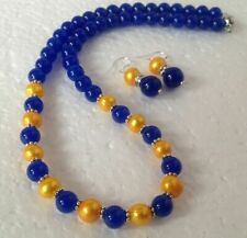 Genuine Golden Akoya Cultured Pearl/Blue Jade Beads necklace earrings Set