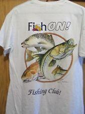 Fish On fishing club white graphic medium snook trout drum t shirt