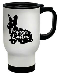 Happy Easter Bunny Rabbit with Spots Travel Mug Cup