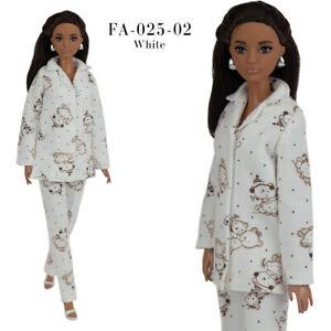 ELENPRIV FA-025 White night-suit (pajamas) for Barbie MTM and similar size dolls