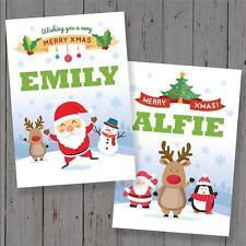 2 x Personalised Xmas Christmas card any name childs name cute santa
