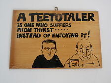 Vintage 1960s Wood Wooden Teetotaler Wall Hanging Art Handmade Ireland Craft