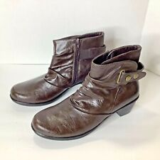 Boost Brown Side Zip Ankle Boot Booties Womens Size 10 W endless energy buckle
