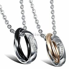 Stainless Steel Matching Heart Rings Pendant Necklace Boyfriend Girlfriend Gift