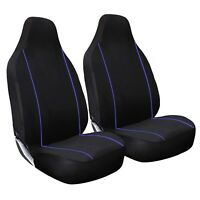 Premium Black with Blue Piping Car Van 4X4 Front Seat Cover Protectors Set 1+1