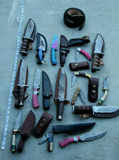 LOT (15) HANDMADE DAMASCUS STEEL BOWIE KNIFE DEER ANTLER HANDLE Factory Second