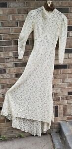 1930'S ANTIQUE WEDDING DRESS GOWN OLD LACE FRAGILE BUT NICE CONDITION SMALL