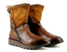 Kaleidoscope Womens UK 7 EU 41 Brown Leather & Suede Faux Fur Mid Calf Boots