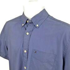 Tommy Hilfiger Women Classic Blue Button Down Short Sleeve Shirt Top Size S/P