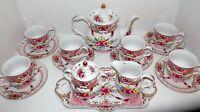 SORELLE Fine Porcelain 18 Piece Tea or Coffee Set Rare Pattern ISABELLA HEART