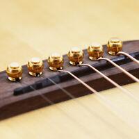 6Pcs Gitarren-Endstöpsel Akustische Volksgitarre Gold Messing Gitarre Stegstifte