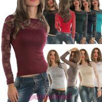 Maglia maglietta sottogiacca top pizzo floreale scollo tondo donna nuovo AS-1129
