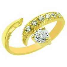 14K Yellow Gold Over Finish Round Cubic Zirconia Adjustable Toe Ring 00006000  For Women