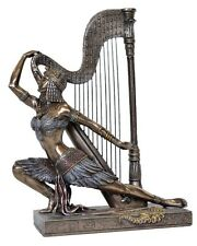 Cleopatra dancing with harp Statue - Poly Resin & Bronze Cast -  24 x 19 x 8 cm