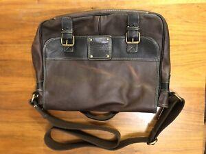 FOSSIL 54 Vintage Italian Leather Briefcase Messenger Crossbody Laptop Bag