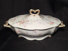 Limoges Covered Dish Factory Decorated Roses & Gold - Charles Ahrenfeldt