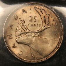 1937 Canada Silver 25 Cents MS-65 ICCS Gem Uncirculated, Toned with satin lustre