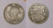 1872-H CANADA 50 CENTS INVERTED A FOR V VG/F. RARE! INV#FP1-78