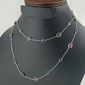 Beautiful 925 Sterling silver Ruby, Emerald and Sapphire stone Necklace Jewelry