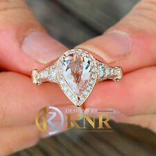 14K ROSE GOLD PEAR NATURAL MORGANITE AND DIAMOND ENGAGEMENT RING BRIDAL 2.50CT
