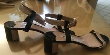 MIU MIU Strappy  Patent Leather Sandal  Black&Cream,VINTAGE, 39.5, Retail 689.