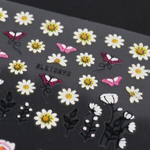 12 Sheets 3D Nail Art Sticker Decal Beautiful Flower Butterfly Daisy Rose