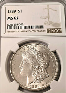 1889 Morgan Silver Dollar NGC MS62  NICE COIN - CLEAN PL LIKE