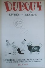 """""""DUBOUT / LIVRES - DESSINS"""" Affiche originale entoilée Litho 1975 49x75cm"""