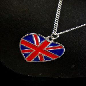 """Union Jack Love Heart Pendant 18"""" Necklace Enamel United Kingdom Flag Unisex"""